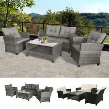 Polyrattan Sitzgarnitur 4 tlg. Sitzgruppe Gartenmöbel Set Lounge Grau/Schwarz