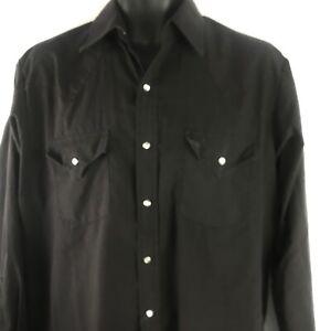 Plains Western Wear Shirt Sz M Black Pearl Snap Long Sleeve