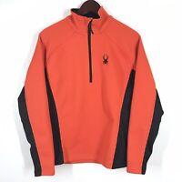 Spyder Core Sweater Orange Black Full Zip Up Jacket Size Small Activewear