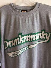 Drunknmunky Men's Tee Shirt Felt Lettering Vintage Heavyweight Gray XL