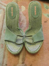 "Diesel Green Suede Leather 4.5"" Heel Sandals / Shoes Size 6 UK - NEW - marked"