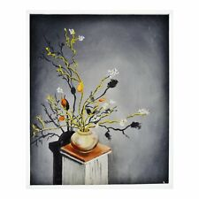 Vintage Floral Still Life Oil on Board Painting