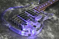 NEw Arrivel Custom Shop 4 Strings LED Light Electric Bass Guitar Actrylic Body