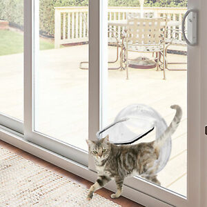 Interior Cat Doors 4-Way Locking Door Suitable for Window & Wall Weatherproof
