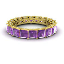 4.40 Ct Genuine Diamond Amethyst Wedding Band 14K Yellow Gold Ring Size 5 6 7 8