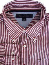 TOMMY HILFIGER Shirt Mens 15.5 M Brown – Light Blue Stripes