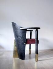 UNIQUE RARE VINTAGE POST MODERNIST ART DECO 80s 90s ARMCHAIR WOOD BRASS LEATHER