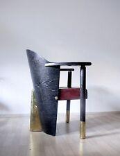 Unique RARE VINTAGE POST modernist ART DECO 80s 90s poltrona in pelle in ottone legno