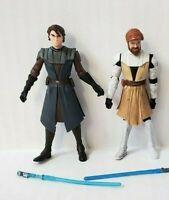 Star Wars Anakin Skywalker Obi Wan Kenobi Clone Wars Action Figure Lot 2