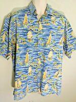 Campia Moda Blue Sailboat Palm Tree Hawaiian Shirt Short Sleeve Mens Size L EUC