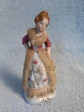 Vintage Porcelain Woman w/ Real Lace Marked Foreign