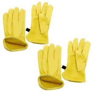 Waterproof Cowhide Leather Work Gloves Premium Drivers Gloves for Yard Work