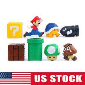 Super Mario Bros Yoshi Luigi Goomba 8pcs Action Figure Gift Kid Toy  Cake Topper