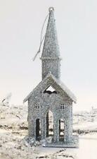 Victorian Silver Glitter Putz Village Church Christmas Tree Ornament Decoration
