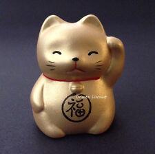 "Japanese 2.25""H Ceramic Rich Lucky Gold Golden Maneki Neko Cat, Made In Japan"