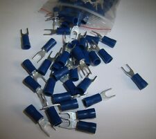 25 Wire Spade Fork Connector Blue Vinyl Terminal #8 Car Audio Speaker Amp New