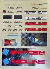 REDLINE 1986 BLUE Squares Decal Set Blue sticker  COMPLETE