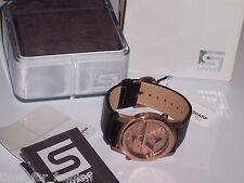 Men's SHARP S12 VOLT Dual Time Black Leather Watch Quartz Rose Gold