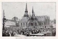 59 ROUBAIX EGLISE SAINT MARTIN  JOUR INAUGURATION CARILLON IMAGE 1929 OLD PRINT