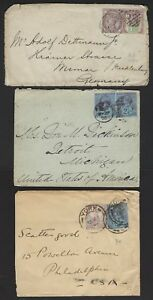 UK GB 1880 THREE COVERS FRANKED 1887 ISSUES ONE W/EMBOSSED ADVERTISING TWO TO US