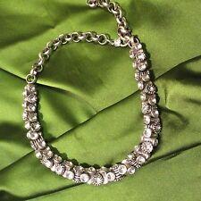 Declaración Gruesa Collar Gargantilla Cuello barril Ajustable Plata Tono Diamante