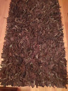 """Black and Brown Leather Shag Area Entry Throw Rug 30"""" x 50"""""""