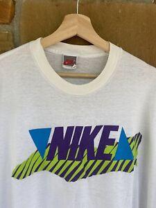 Vintage 80s Nike Neon Logo Single Stitch Graphic T Shirt USA Made Size 3XL