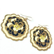 nOir Enamel Rhinestone Pierced Earrings Floral Layered Gold Tone Signed Dangle