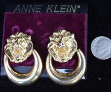New Original Card Old Stock ANNE KLEIN Goldtone LION HEAD Clip-On Earrings #4