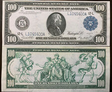 Reproduction Copy 1914 $100 Federal Reserve Note Ben Franklin Blue Seal San Fran