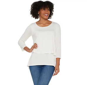 Joan Rivers Jersey Knit Layered Top with 3/4 Sleeves - Ivory - Medium
