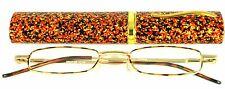 Mr. Reading Glasses [+2.00] 1 Metal Frame Tortoise Reader Match Case Hinged 2.00