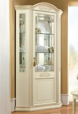 Eckvitrine Wohnzimmer Esszimmer Eckschrank Glas Seiten Elfenbein Klassisch Italy