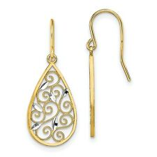 Fancy Dangle Wire Earrings In Real 14k Yellow Two Tone Gold 1.79gr