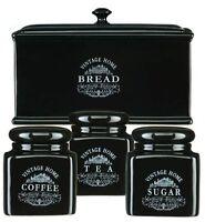 Vintage Black Ceramic Bread Bin Storage Box Ebay