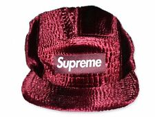 2016 Fall/Winter Supreme Croc Embossed Velvet Camp Cap Burgundy