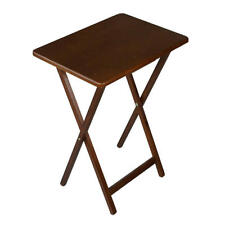 Table Dining Folding Wooden TV Tray Laptop Snacks Portable Brown Mango
