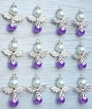 12 christmas tree hanging decorations guardian angel charms purple 30mm approx