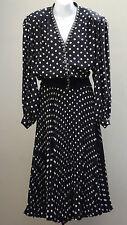 Vintage Tricoville suit Skirt jacket Shoulder pads Black white POLKA DOTS