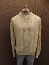 Sporty Vtg 1960s Ivory Soft Acrylic Big Knit Nordic Aran Fisher Cable Mens Xl
