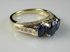 14K 2.53ctw Blue Sapphire Diamond Ring Yellow Gold Fine Jewelry Size 7 $2995