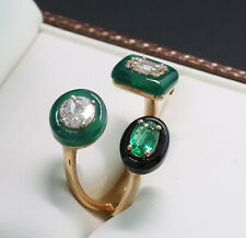 Designer Ring Diamonds Emerald Agates Floating Gems 750er Rose Gold, New