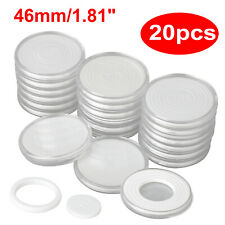 20Pcs 46mm Plastic Coin Holder Capsule Storage Case Display Box+5 Sizes Pad Ring