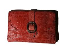NWOT Jessica Simpson Clutch Red Buckle Large Snake Gingham Pockets Key Clip