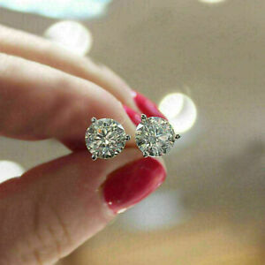 2Ct Brilliant Round Cut Diamond Screw Back Stud Earrings 14k White Gold Finish