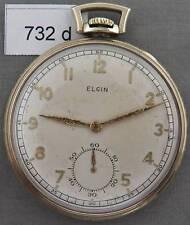 Yellow Gold Filled Pocket Watch Vintage Elgin 10 Size Men's
