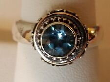 Sterling Silver Ladies Ring Blue Topaz 7 mm  Round Solitaire Retro Style