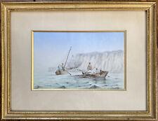 Tableau Paysage Marine aux Pêcheurs Aquarelle XIXème Peinture signée Ernest Obin