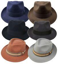 Premium Felt Teardrop Fedora Hat - 100% Wool Felt - Crushable for Travel Trilby