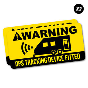 2x Warning Caravan Gps Tracking Sticker Decal Side Vehicle #6600EN